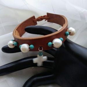 Cuff Tan Leather Bracelet